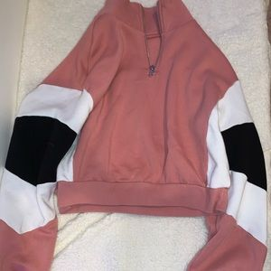 Pink white and black cropped pullover